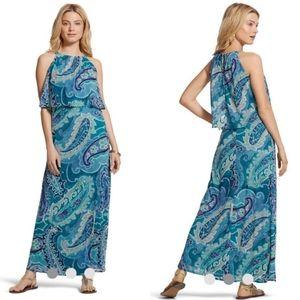 Chico's Ocean Paisley Bib Maxi Dress